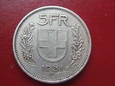 1931 B SWITZERLAND 5 FRANCS NICE BETTER DATE GRADE WORLD CROWN COIN .835 FINE