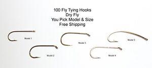 100 Fly Tying Hooks Dry - Pick Model & Size