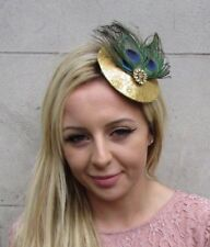 Gold Blue Green Peacock Feather Small Pillbox Hat Fascinator Hair Clip Vtg 6271