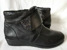 Padders Black Leather  Ankle Boots Size 7