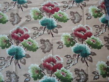 1930's Vintage Bark Cloth Sample Tagged Dryed Hydrangea Florals 100% Cotton Lrge