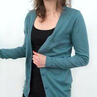 NWT Loft Teal Blue Green Button Down V-Neck Cardigan Sweater Women's Size Medium