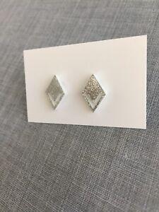 Silver Glitter Stud Earrings, Acrylic, Diamond Shape, Surgical Steel, Laser Cut