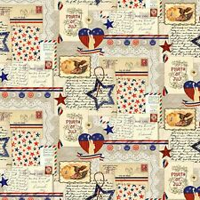 New listing Patriotic Thoughts Fourth of July Tan 100% Cotton Fabric by The Yard