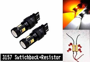 Front Signal DRL Switchback LED White Amber T25 3157 CK 3057 4157 M1 For Dodge A