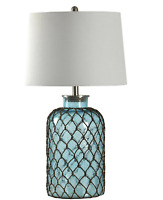 StyleCraft 30.3 in. Blue Table Lamp with Off-White Hardback Fabric Shade