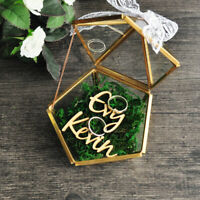 Personalized Pentagon Jewelry Box Ring Bearer Pillow, Rustic Wedding Ring Holder