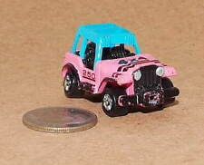 Small Micro Machine Plastic Jeep in Pink with Roll Bars