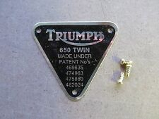 70-2909 Genuino Triumph 650 Placa de Latón de patente insignia de doble con Remaches