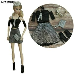 """Fashion Outfits For 11.5"""" 1/6 Doll Clothes Set Top Skirt Purse Crown Boots Toys"""