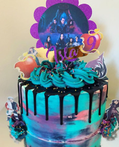 PERSONALISED DESCENDANTS GLITER CAKE TOPPER WITH EXTRAS