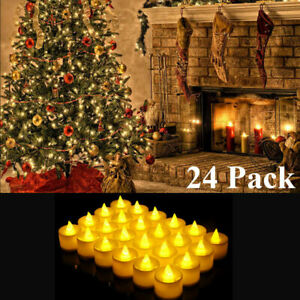 24pcs Christmas Flameless Candles LED Lights Battery Operated No Flame Decor