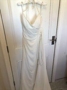 Sample Mark Lesley Ivory Halterneck Button Back Wedding Dress Size 14