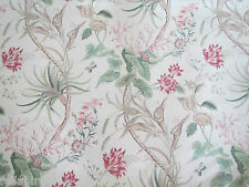 "SANDERSON CURTAIN FABRIC DESIGN ""Mauritius"" 2.3 METRES (230 CM) ROSE & CREAM"