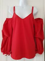 Womens River Island Red Strappy Off Shoulder Ruffle Sleeves Bow Cuffs Blouse 14.