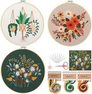 3 Sets Full Range of Cross Stitch Kit with Patterns, Embroidery kit.