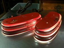 Pair of Vtg Electro Pinup Lamp Light Sconces, Red & Chrome Metal 2 Tier Art Deco