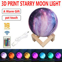 3D Print Galaxy Star Space Moon Lamp Night USB Touch Switch 16 Colors Xmas Gifts