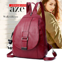 Women Leather School Backpack Travel Handbag Satchel Rucksack Shoulder Bag Tote