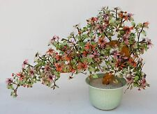 Huge VTG Chinese Oriental Bonsai Glass Jade Tree Asian Decor Flowers Celadon Pot