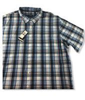 IZOD All Cotton Plaid Short Sleeve Button Front Shirt Mens Size  2 XL NWT