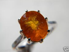 Orange Sapphire Ring 5.30CT 11x9mm, 925 Silver, Sz8, Fissher Filled.