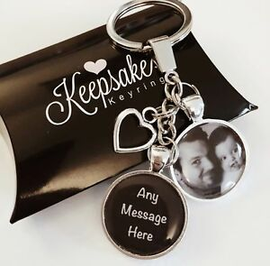 Personalised Photo Keyring Any Message Birthday Christmas Present Gift Box