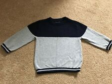 Next Baby Boys Fine Knit Smart Formal Grey Blue Colour Block Jumper 9-12 Months