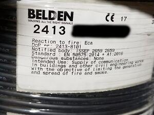 Belden 2413 23/4P Enhanced CAT6+ UTP DataTwist Network Cable Plenum Black /100ft