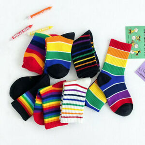 Baby Cotton Rainbow Socks Boys Girls Soft Breathable Socks Clothes Accessories