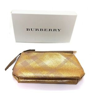Burberry Large Metallic Gold Pouch Travel Toiletry Makeup Bag with Gift Box