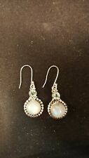 Shivam Made in India .925 Sterling Silver Rainbow Moonstone  Earrings  - NEW