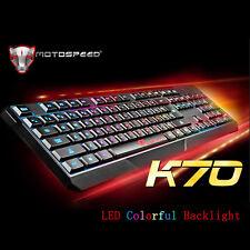 Motospeed K70 Waterproof Colourful LED Illuminated USB Wired Gaming Keyboard