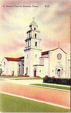 Unused Linen Postcard St. Anne's Church Houston Texas TX Catholic School Saint
