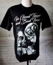 In Good & Bad Times Tattoo Artist Skull Sexy Woman Black Widow Face Ink TShirt L