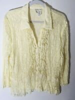 Coldwater Creek Women's XL Ivory Lace Crinkle Ruffle Front Lined Peplum Blouse