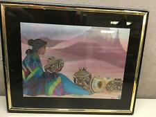 Southwestern Art Laser Cut Painting Native American Woman with Pots Framed