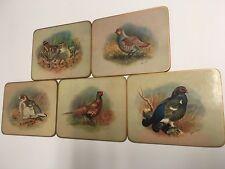 "Lot of 5 Basil Ede Bird Vintage Coaster Placemat Trivet Cork 7.25"" x 6"""