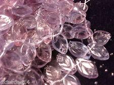 vtg 100 TRANSPARENT LAVENDER BLUE VEINED GLASS LEAVES  #020715x 12mm TOP HOLE