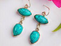 """Genuine Turquoise Gemstone 925 Pure Sterling Silver Women's Fine Earrings 1.80"""""""
