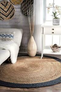 Natural Jute Round Rug Bohemian Reversible Round Area Dhurrie Carpet Mat Rag Rug