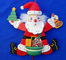 "pull string jointed puppet  Santa Claus Christmas ornament 7¾"" wood"