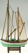 More details for 35cm distressed nautical aqua trawler wooden sail boat ornament
