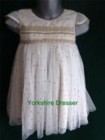 New MONSOON Girl Age 3-12m & 2-3yrs MILA Ivory Gold Spot Party Flower Girl Dress