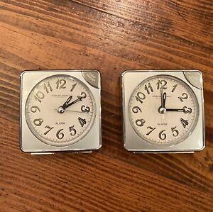 LOT 2 Sterling & Noble Retro Silver Desk Travel  Alarm Clock Snooze Button