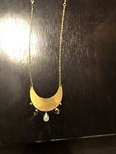 Anthropologie Necklace Gold Hammered pendant with semi-precious stones