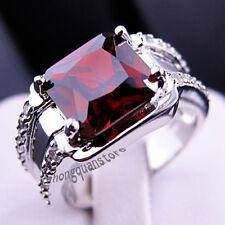 Size 8 Chunky Jewelry Garnet Red Ruby CZ Gemstone Engagement Ring Wedding Gift
