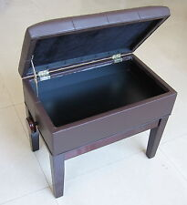 PIANO STOOL WITH STORAGE, MAHOGANY, ADJUSTABLE