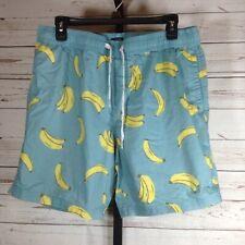 Valor Mens Shorts Blue Banana Print Drawstring Size XL