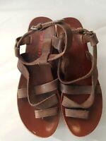 Miss Sixty 'Suzi-W' Platform Wedge Cork Heel Leather Sandal  Women's Size EUR 38